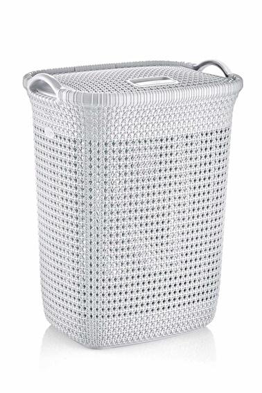 Arma House Örgü Desenli Beyaz Rengi Plastik Kirli Çamaşır Sepeti 65 Lt Beyaz